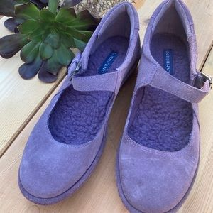 Lands End Purple Suede Mary Jane Slip Ons size 8